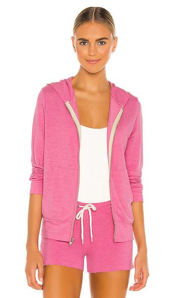MONROW Supersoft Zip Up Hoodie in Pink