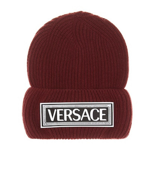 Versace Logo wool beanie in red