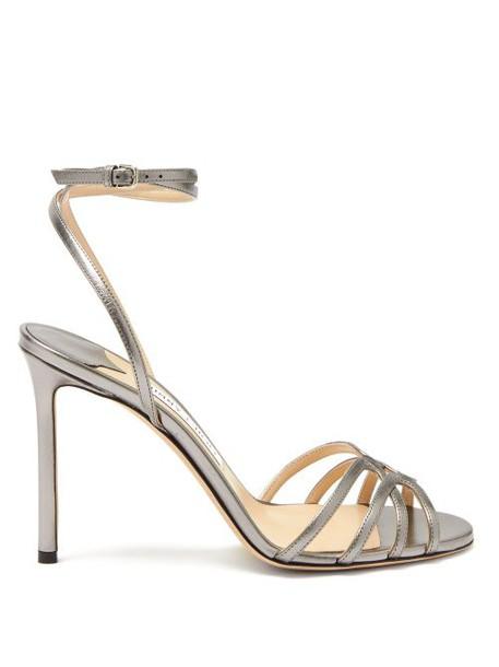 Jimmy Choo - Mimi 100 Metallic Leather Sandals - Womens - Dark Grey