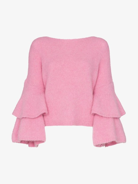 By Timo knitted flamenco sleeve jumper in pink