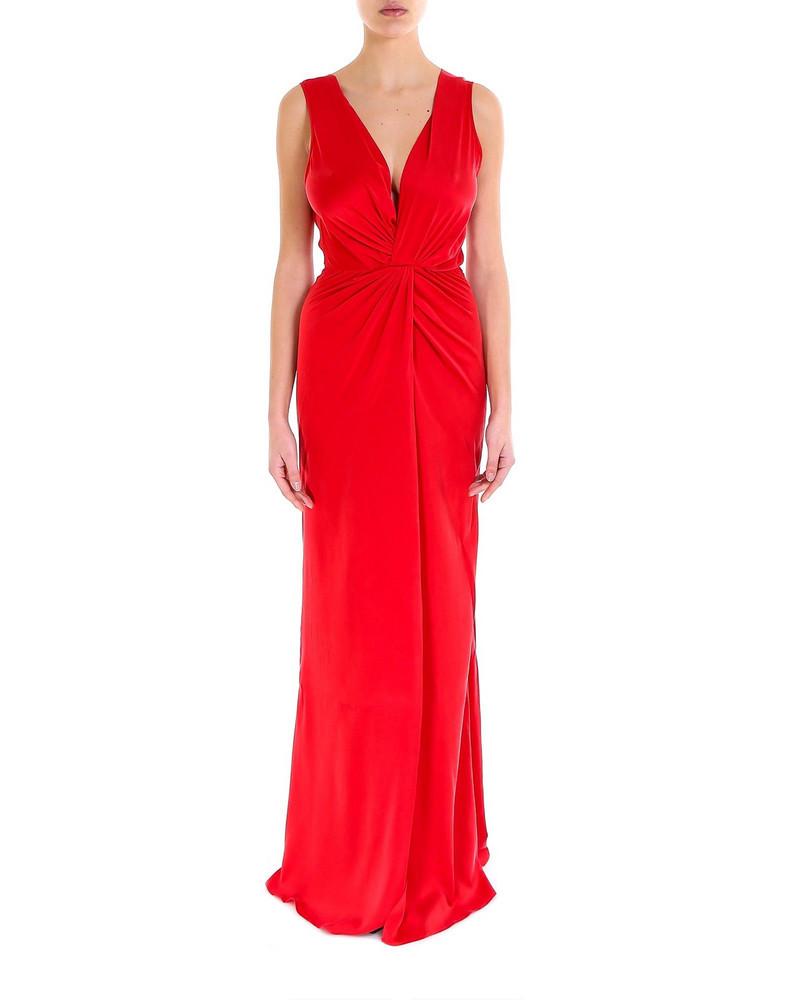 AMIRI Deep V Silk Dress in red