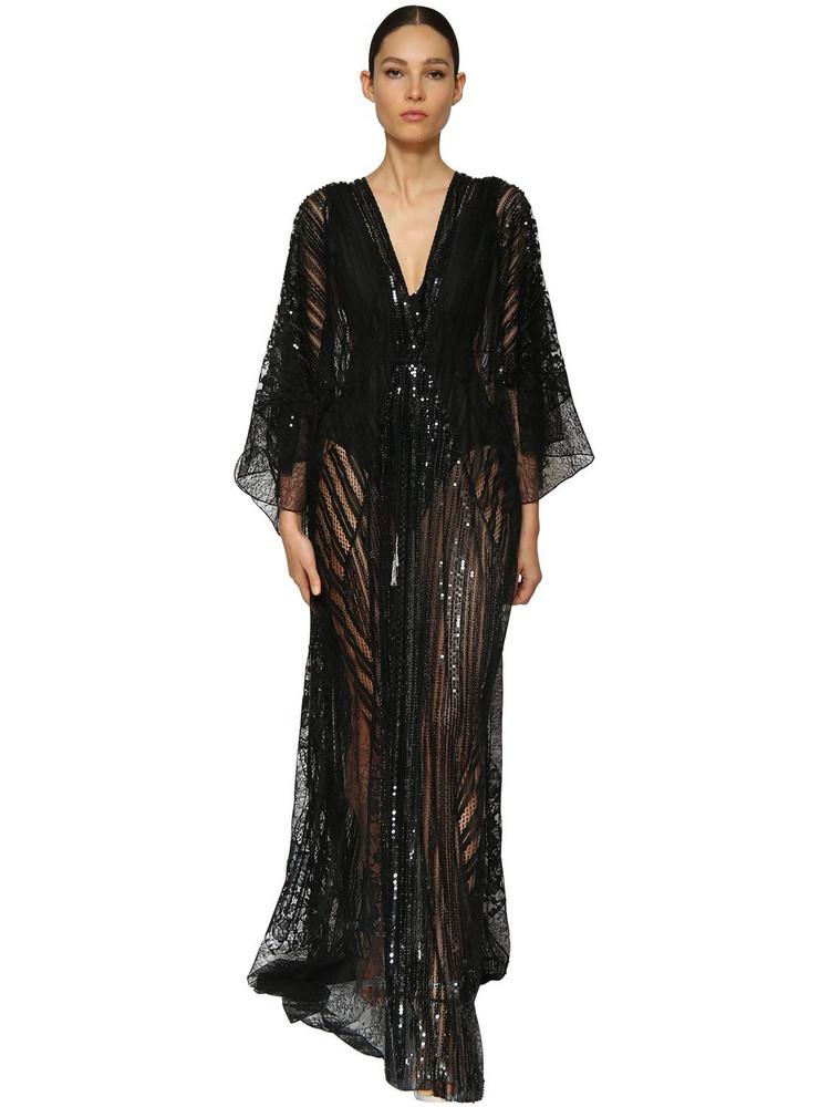 AZZARO Embellished Lace Caftan Dress in black