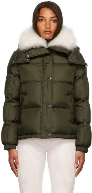 Yves Salomon - Army Down Vaporous Lambswool Trim Short Jacket in green