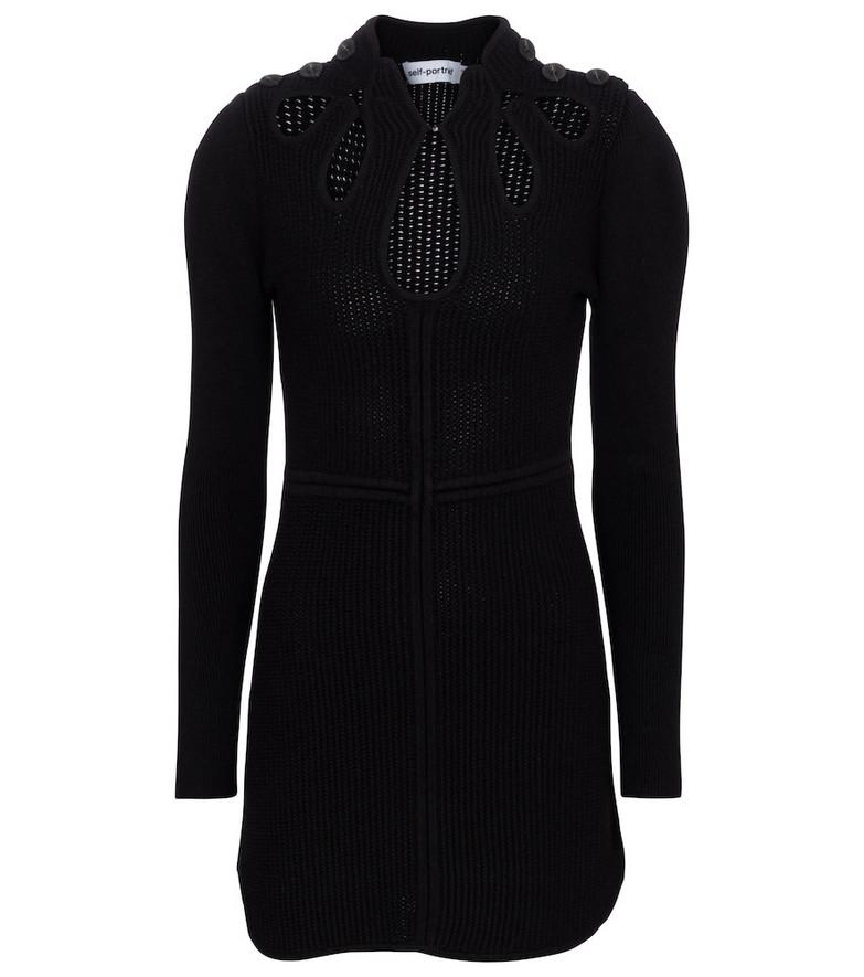 Self-Portrait Cutout cotton-blend knit minidress in black