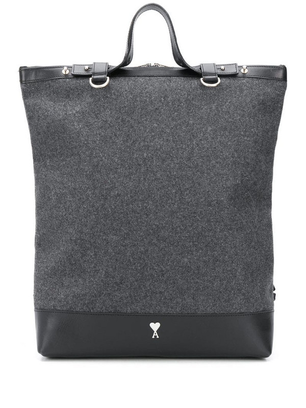 AMI Paris leather-trimmed tote backpack in grey