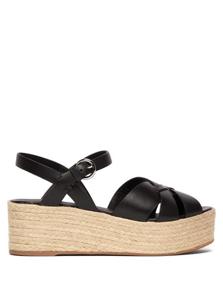 Prada - Crossover Leather Flatform Sandals - Womens - Black