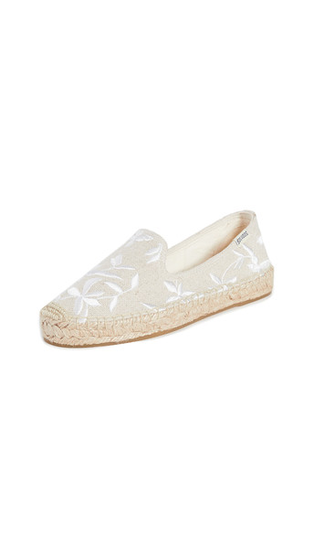 Soludos Shiloh Embroidered Espadrilles in sand