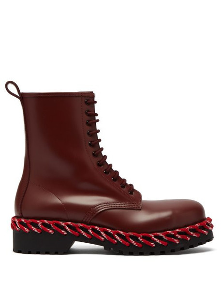 Balenciaga - Rope Stitched Leather Boots - Womens - Burgundy
