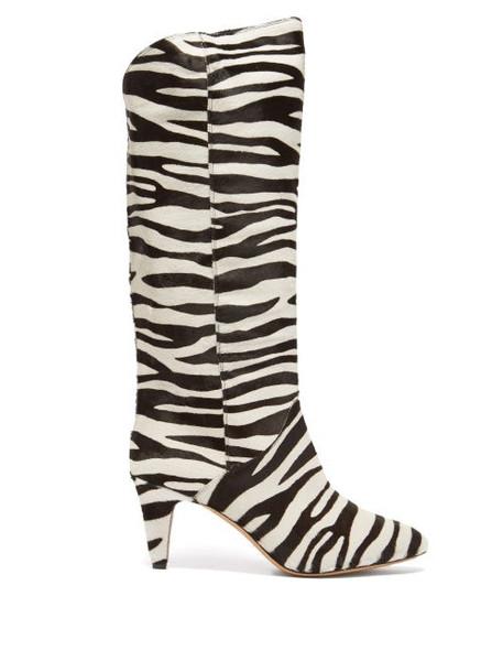 Isabel Marant - Laylis Zebra-print Calf-hair Knee-high Boots - Womens - Black/white