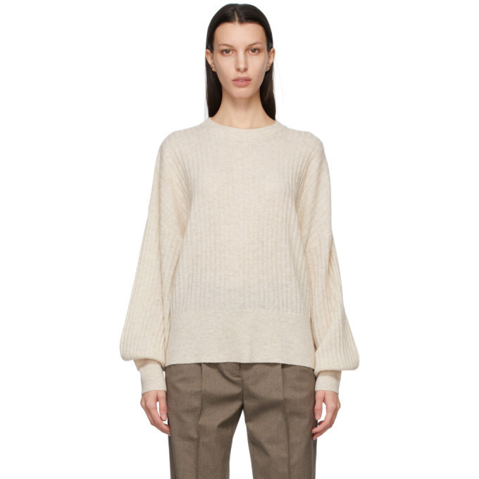 Won Hundred Off-White Wool Blakely O-Neck Sweater in cream