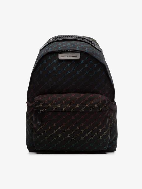 Stella McCartney black Falabella rainbow logo backpack