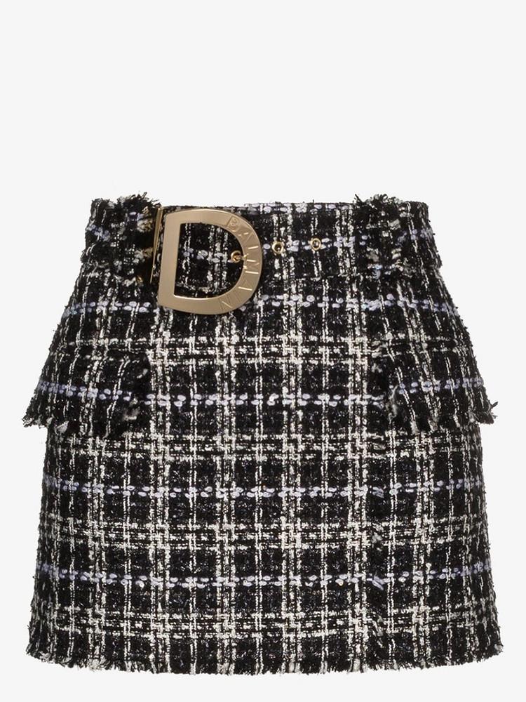 Balmain belted tweed mini skirt in black