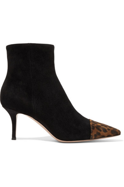 Gianvito Rossi - 70 Two-tone Suede Ankle Boots - Black
