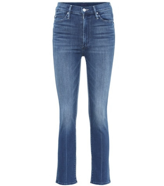 Mother The Rascal high-rise cropped jeans in blue