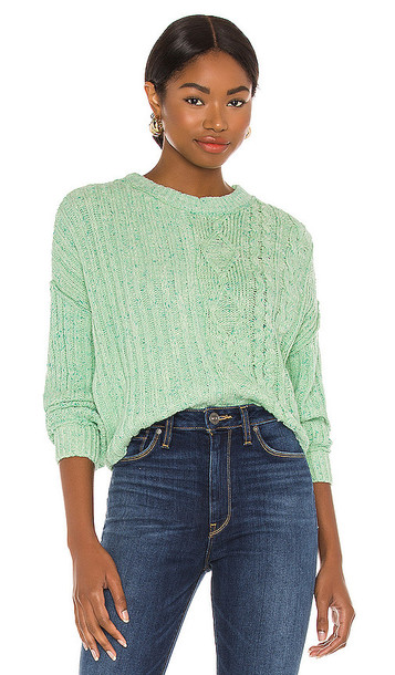 Free People On Your Side Pullover in Mint