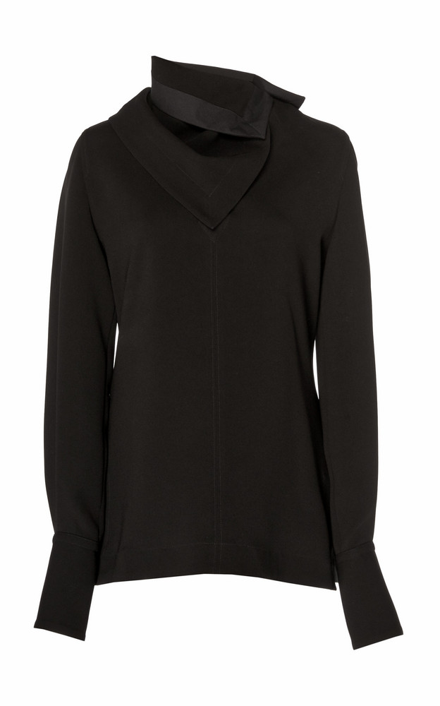 3.1 Phillip Lim Long Sleeve Crepe Blouse With Removable Scarf in black