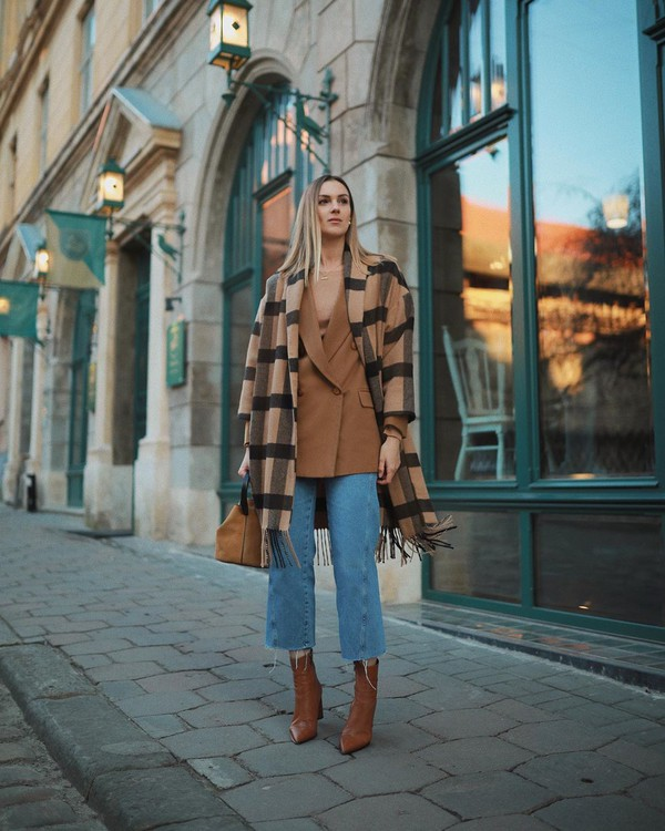 coat poncho plaid ankle boots brown boots wide-leg pants cropped jeans bag blazer double breasted