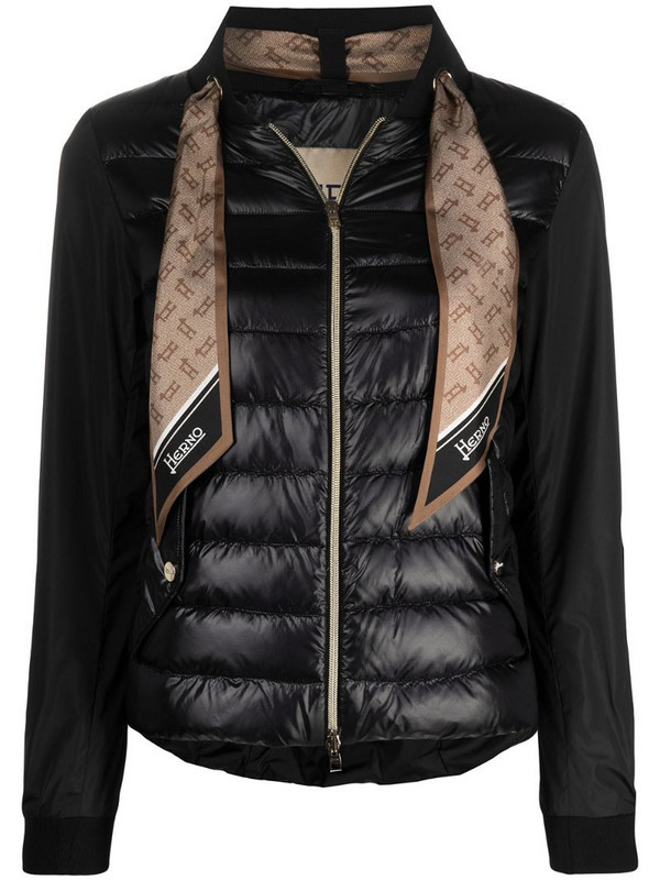 Herno monogram-scarf puffer jacket in black