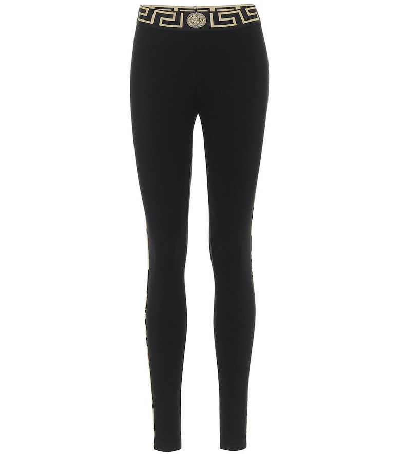 Versace Printed stretch-cotton leggings in black