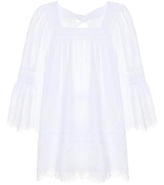 Self-Portrait Cotton-blend lace minidress in white