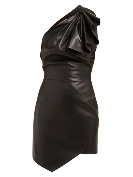 Alexandre Vauthier - One Shoulder Leather Mini Dress - Womens - Black