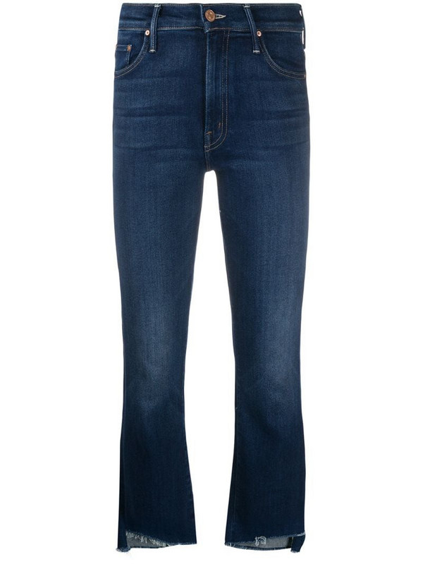 Mother raw-cuff mid jeans in blue