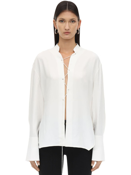 KHAITE Athena Lace-up Crepe Satin Blouse in ivory