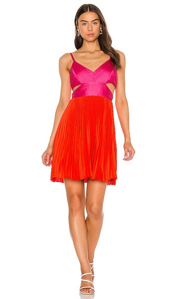BCBGMAXAZRIA Cut Out Mini Dress in Red in tomato