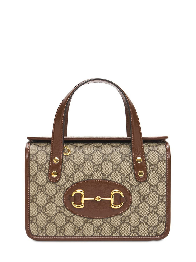 Mini Gucci 1955 Horsebit Top Handle Bag in brown