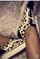 shoes,black,vans,old skool,sunflower vans