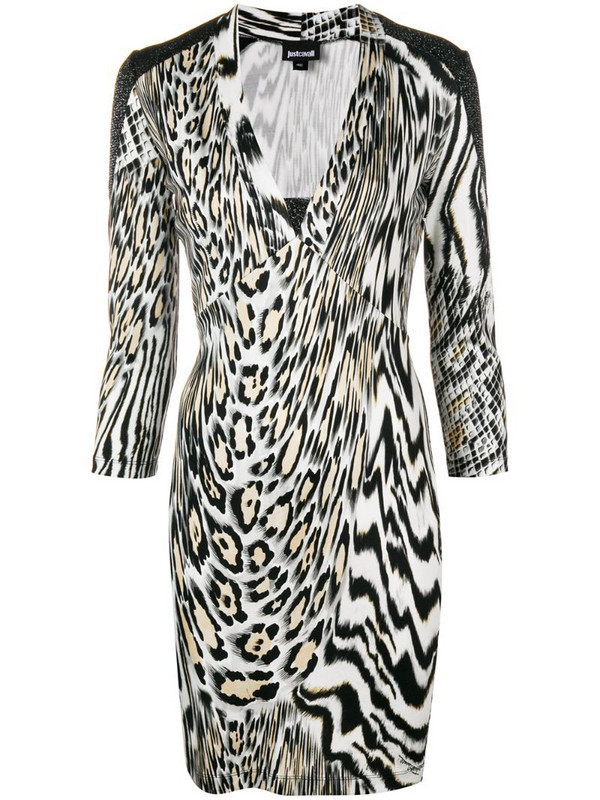 Just Cavalli animal print fitted dress in black