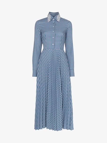 Anouki check pleated midi shirt dress in blue