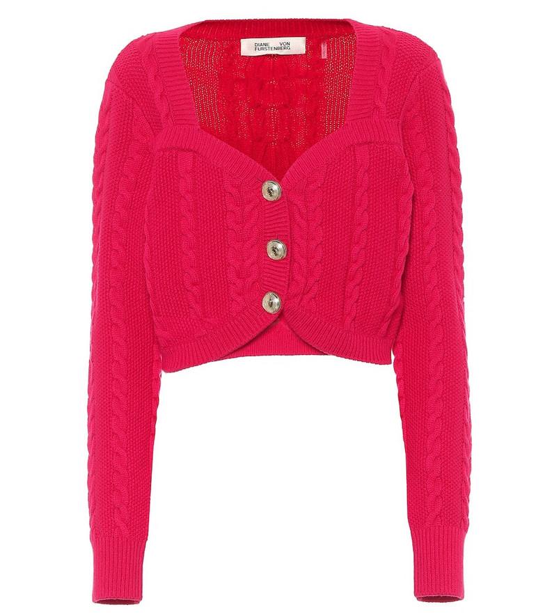 Diane von Furstenberg Zoya cable-knit wool-blend cardigan in pink