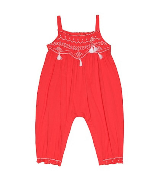 Tartine et Chocolat Embroidered cotton playsuit in red