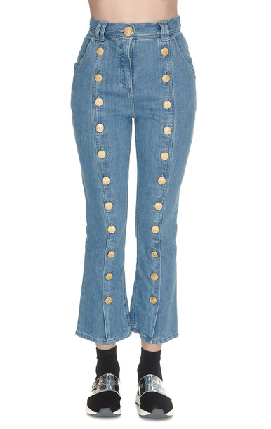 Balmain Cropped Buttons Jeans in blue