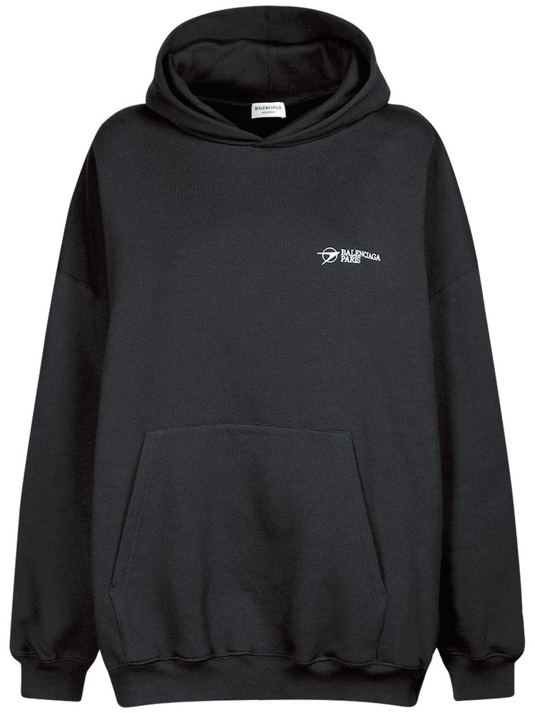 BALENCIAGA Corporate Cotton Jersey Hoodie in black
