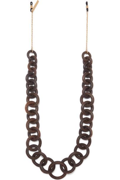STAUD - Gold-tone And Wood Sunglasses Chain - Brown