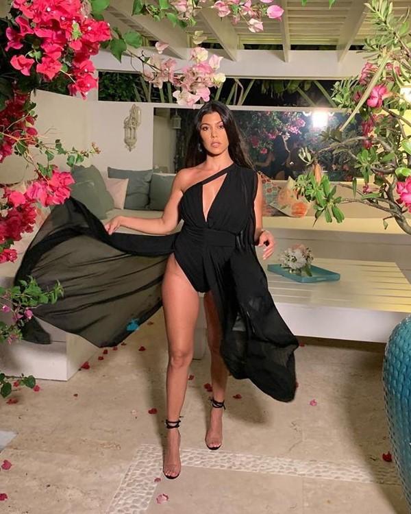 dress asymmetrical asymmetrical dress kourtney kardashian kardashians celebrity bodysuit sexy dress instagram