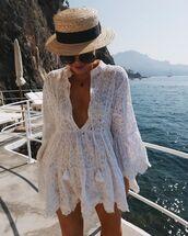 dress,white dress,lace dress,long sleeve dress,hat