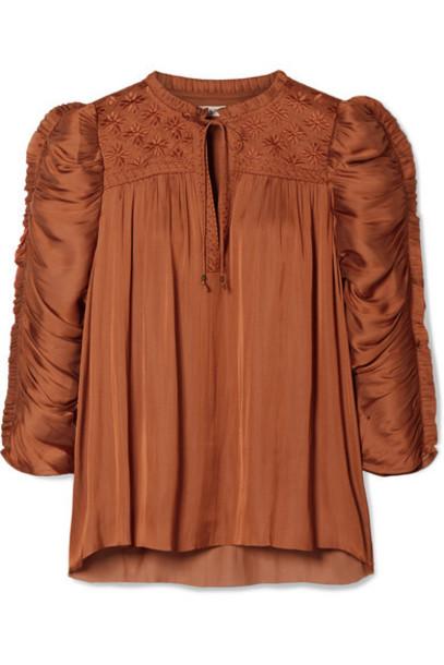 Ulla Johnson - Lissa Ruched Embroidered Charmeuse Blouse - Orange