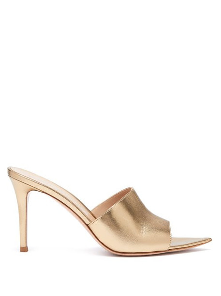 Gianvito Rossi - Alise 85 Grained Leather Mules - Womens - Gold