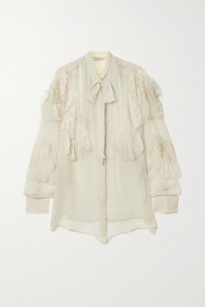 VALENTINO - Ruffled Lace-trimmed Silk-chiffon Blouse - Cream