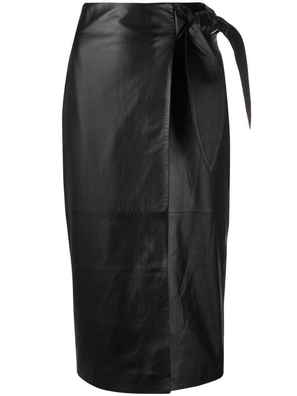 Arma ruched detail midi skirt in black
