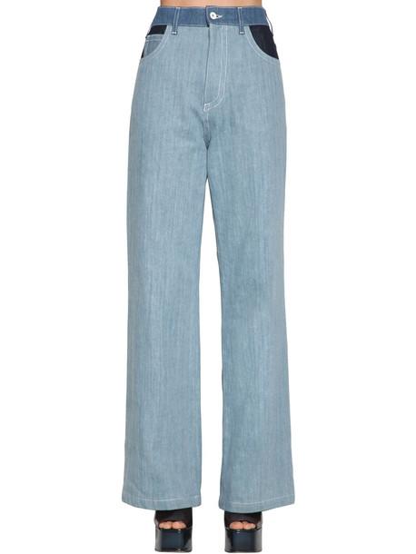 MARNI High Waist Cotton Denim Pants in blue