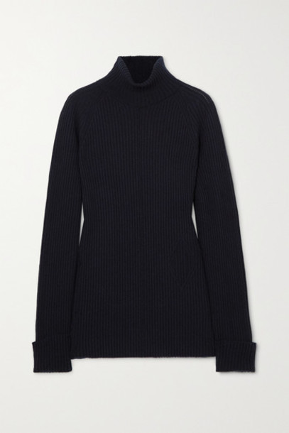 Chloé Chloé - Ribbed Wool And Silk-blend Turtleneck Sweater - Navy