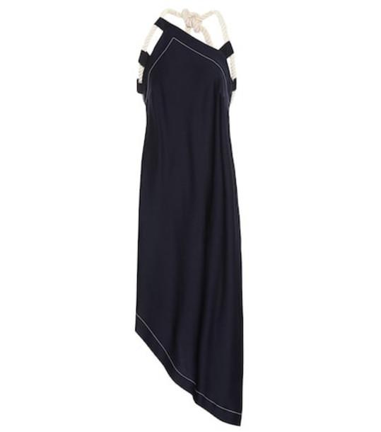 Monse Asymmetrical crêpe midi dress in blue
