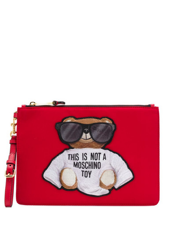 Moschino teddy embroidered logo clutch bag in red
