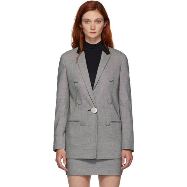 Alexander Wang Black and White Notched Lapel Blazer