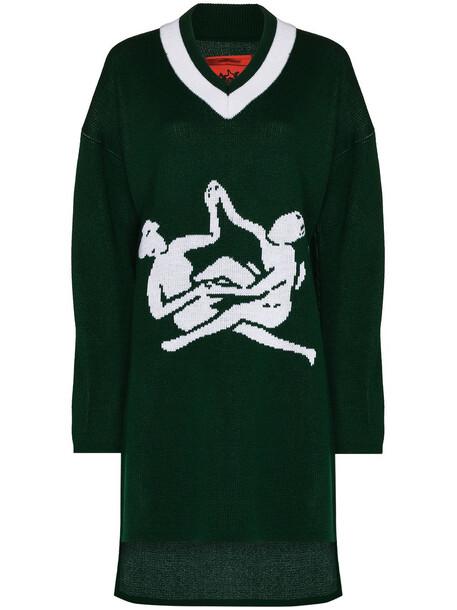 Thebe Magugu Sisterhood V-neck longline jumper - Green