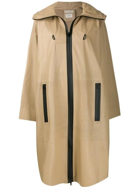 Bottega Veneta voluminous hooded parka coat in neutrals